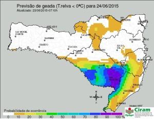 Previsão de temperatura negativa e geada no Planalto Sul