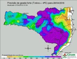 Massa de ar polar atua em Santa Catarina